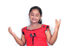 The girl enjoy the music. In white background Stock Images