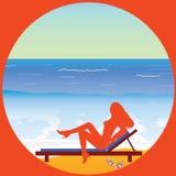 Girl enjoy on the paradise beach vector Stock Images