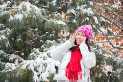 Girl enjoy snowing Royalty Free Stock Photography