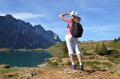 Girl enjoying Alpine panorama Stock Image