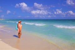 Girl enjoying the beach in Playa del Carmen, Mexico stock photo
