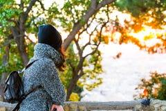 Girl enjoying a beautiful panorama view - sunrise Royalty Free Stock Photo