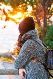 Girl enjoying a beautiful panorama view - sunrise - close up view Royalty Free Stock Image