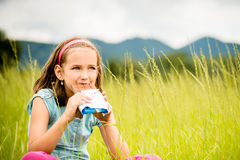 Girl enjoying chocolate Royalty Free Stock Images