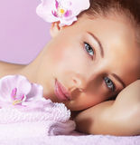 Girl enjoying dayspa Stock Photos