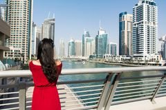 Girl enjoying a Dubai marina view Royalty Free Stock Image