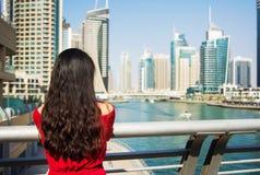Girl enjoying a Dubai marina view stock photos