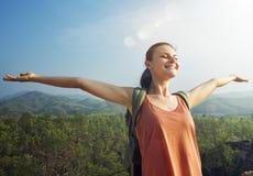 Girl Enjoying Freedom Outdoors Concept Stock Image