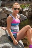 Girl Enjoying Mountain. Young pretty girl enjoying the nature on Pirin mountain, Bansko, Bulgaria Stock Photos