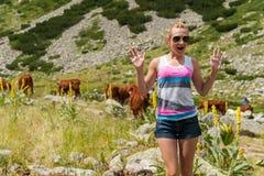 Girl Enjoying Mountain Stock Photography