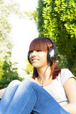 girl enjoying the music Stock Images