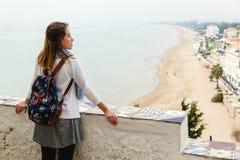 Girl enjoying the panoramic view of Sperlonga. Italy Royalty Free Stock Photography