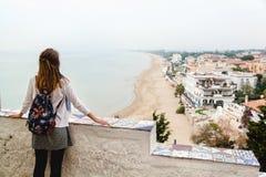 Girl enjoying the panoramic view of Sperlonga. Italy Royalty Free Stock Photos