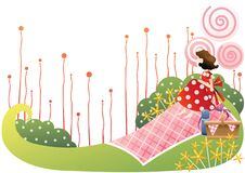 girl enjoying picnic. Vector illustration decorative design