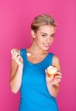 Girl enjoying pudding Stock Photo