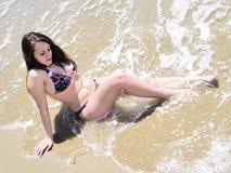 Girl enjoying the sea Royalty Free Stock Image