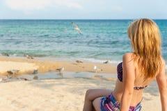 Girl Enjoying the Sea Stock Photography