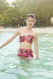 Girl enjoying seaside in the water Royalty Free Stock Photos