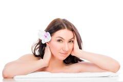 Girl enjoying spa procedure Isolated Stock Photo