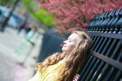 Girl enjoying spring day Stock Photos