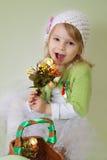Girl enjoying spring flower blossom Royalty Free Stock Photos
