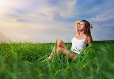 Girl enjoying summer Stock Images