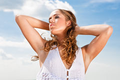 Girl enjoying sunlight  Royalty Free Stock Photography