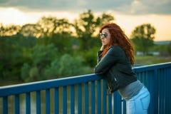 Girl enjoying the sunset Royalty Free Stock Images