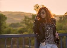 Girl enjoying the sunset Stock Images