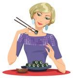 Girl Enjoying Sushi. The vector illustration of the Smiling Girl Enjoying Sushi Stock Photos