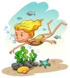 Girl enjoying underwater Royalty Free Stock Image
