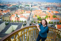 Girl enjoying view of Copenhagen Stock Photos