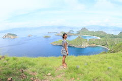 Girl enjoying view on Padar Island Royalty Free Stock Images
