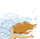 Girl enjoying the wind. Young girl enjoying the wind with a nature background vector illustration