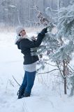 Girl enjoying winter walk Stock Photography