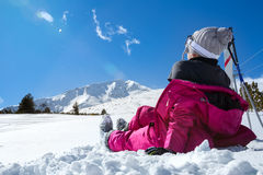 Girl enjoying wintertime nature Stock Photo