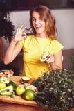 Girl Enjoys Healthy Food Stock Image