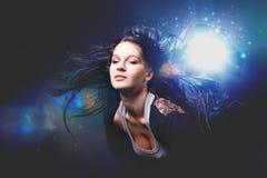 Girl enjoys music Royalty Free Stock Photo