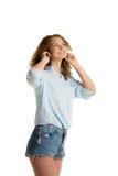 Girl enjoys music Stock Photos
