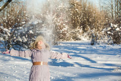 Girl enjoys the snow. Winter holidays in a fairy tale. Sun and snow. Happy girl in a fur hat Stock Image