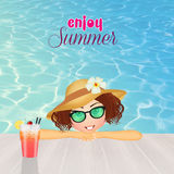 Girl enjoys the summer holidays Royalty Free Stock Images