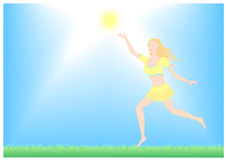 Girl enjoys sun. Girl running enjoys the sun Stock Photo