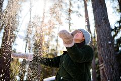 Girl enjoys winter, frosty day, snow. playing with snow, a woman throws white, loose snow into the air. Walk with winter forest stock photos