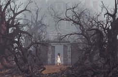 Girl enter to haunted manor royalty free stock photo