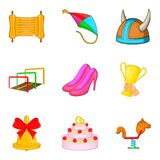 Girl entertainment icons set, cartoon style Stock Images