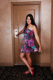 Girl on entrance door. Royalty Free Stock Photography