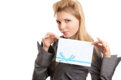 Girl with envelope Royalty Free Stock Images