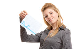 Girl with envelope Stock Photo