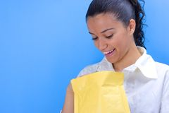 Girl with envelope royalty free stock photography