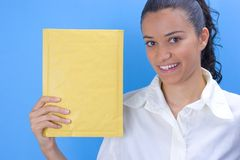 Girl with envelope Royalty Free Stock Photo